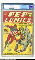 Golden Age (1938-1955):Superhero, Pep #1 (MLJ, 1940) CGC VF- 7.5 Cream to off-white pages. Introducing the era of Patriotic heroes! Within these red, white, a...