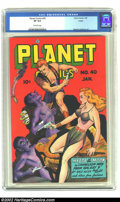 Golden Age (1938-1955):Science Fiction, Planet Comics #40 Toledo pedigree (Fiction House, 1946) CGC VF 8.0Off-white pages. The richly colored Joe Doolin cover look...