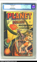 Golden Age (1938-1955):Science Fiction, Planet Comics #43 (Fiction House, 1946) CGC VF- 7.5 Off-white towhite pages. Joe Doolin's cover on this title was a given f...