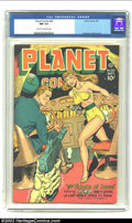 Golden Age (1938-1955):Science Fiction, Planet Comics #50 (Fiction House, 1947) CGC NM 9.4 Cream tooff-white pages. Rayguns, girls, and skeletons, oh my! A quick-d...