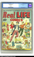 """Golden Age (1938-1955):Non-Fiction, Real Life Comics #1 Denver pedigree (Nedor Publications) CGC NM- 9.2 White pages. If you're caught up in the whole """"Schombur..."""