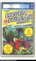Golden Age (1938-1955):Superhero, Silver Streak Comics #1 (Lev Gleason, 1939) CGC VF/NM 9.0 Cream to off-white pages. The silver metallic cover announces this...