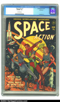 "Golden Age (1938-1955):Science Fiction, Space Action #1 Bethlehem pedigree (Ace, 1952) CGC VF/NM 9.0Off-white pages. This Gerber ""uncommon"" issue was the premiere ..."