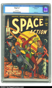 "Space Action #1 Bethlehem pedigree (Ace, 1952) CGC VF/NM 9.0 Off-white pages. This Gerber ""uncommon"" issue was..."