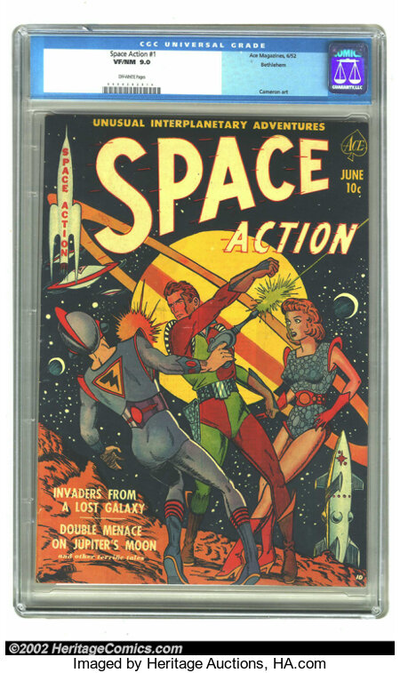 """Space Action #1 Bethlehem pedigree (Ace, 1952) CGC VF/NM 9.0 Off-white pages. This Gerber """"uncommon"""" issue was the premiere ..."""