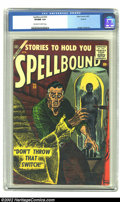 Golden Age (1938-1955):Horror, Spellbound #33 Circle 8 pedigree (Atlas, 1957) CGC VF/NM 9.0Off-white to white pages. This cover sports a ghost trying to s...