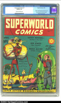 "Golden Age (1938-1955):Science Fiction, Superworld Comics #1 (Hugo Gernsback, 1940) CGC VG/FN 5.0 Cream to off-white pages. Gerber estimates this book to be ""scarce..."