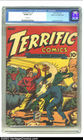 Golden Age (1938-1955):Superhero, Terrific Comics #3 Mile High pedigree (Continental Magazines, 1944) CGC VF/NM 9.0 White pages. One of the hottest titles of ...