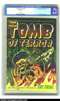 Golden Age (1938-1955):Horror, Tomb of Terror #10 (Harvey, 1953) CGC VF- 7.5 White pages. BobPowell and Howard Nostrand provide art for this issue. A man ...