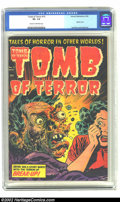 Golden Age (1938-1955):Horror, Tomb of Terror #15 (Harvey, 1954) CGC VF- 7.5 Cream to off-white pages. Gasp! What an awesome cover by Lee Elias! The Harvey...