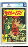 Golden Age (1938-1955):Horror, Web Evil #18 Circle 8 pedigree (Quality, 1954) CGC VF 8.0 Off-whiteto white pages. From 1939-1955, just below the top tier ...