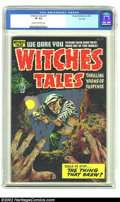 Golden Age (1938-1955):Horror, Witches Tales #27 Harvey File copy (Harvey, 1954) CGC VF 8.0 Creamto Off- white pages. Issue #27 reprints #6 but has a new ...