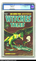 """Golden Age (1938-1955):Horror, Witches Tales #28 File Copy (Harvey, 1954) CGC VF/NM 9.0 Cream tooff-white pages. This issue may be a victim or the """"rare l..."""