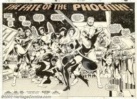 """John Byrne and Terry Austin - Original Art for X-Men #137, page 2 and 3, """"The Fate of the Phoenix"""" (Marvel, 19..."""