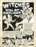 "Original Comic Art:Complete Story, Joe Kubert - Original Art for All New Comics #6, Complete 5-pageStory, ""Witches Kill At Daylight"" (Harvey , 1944). This mar..."