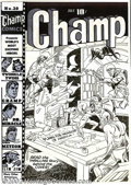 Original Comic Art:Covers, Joe Simon (attributed) - Original Cover Art for Champ #20 (Harvey,1942). This cover may be by Joe Simon, as he certainly di...