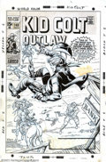 """Original Comic Art:Covers, Herb Trimpe - Original Cover Art for Kid Colt Outlaw (Marvel,1969). Here's the shoot-out the West will never forget... """"Fur..."""