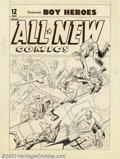 Original Comic Art:Covers, Unknown Artist - Original Cover Art for All-New Comics #12 (Harvey,1946). This wild World War II cover has the composition ...
