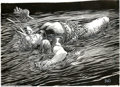 "Original Comic Art:Comic Strip Art, Barry Windsor-Smith - Original Illustration, ""Black Water"" (1983). This exquisite Barry Windsor-Smith work depicts a fallen ..."