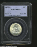 Seated Quarters: , 1875-S MS64 PCGS. ...