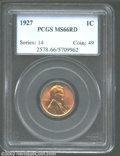 Lincoln Cents: , 1927 1C MS66 Red PCGS. Fiery-red surfaces with a few ...