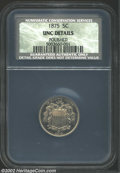Shield Nickels: , 1875 5C AU50. Unc Details, Polished NCS. A lightly toned ...