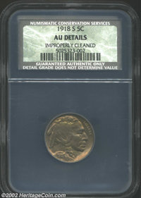 1918-S 5C AU Details, Improperly Cleaned NCS. Sharply struck and very close to Mint State with deep sea-green patina. Cu...