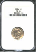 Buffalo Nickels: , 1934 5C MS66 NGC. Attractive golden patina with nice ...