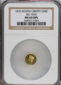 California Fractional Gold: , 1870 50C Liberty Round 50 Cents, BG-1024, Low R.4, MS64 Deep MirrorProoflike NGC. This canary-gold piece provides imposing...