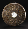 Furniture: French, A Round Copper Clock. Unknown maker, France. Undated. Copper,bronze. Marks: clockworks signed H&H. 15 inches indiame...