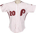Baseball Collectibles:Uniforms, 1987 Mike Schmidt Game Worn Jersey. Hall of Fame gamer was purchased at auction from the team, and still holds the original...