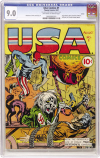 USA Comics #1 Larson pedigree (Timely, 1941) CGC VF/NM 9.0 Off-white to white pages. No higher grade has been assigned b...