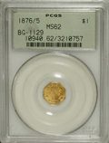 California Fractional Gold: , 1876/5 $1 Indian Octagonal 1 Dollar, BG-1129, R.4 MS62 PCGS. Thisyellow-gold example provides deeply mirrored fields, and ...