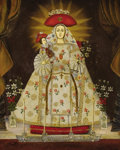 Fine Art - Painting, American:Other , MEXICAN SCHOOL. Madonna and Child. Oil on tin retablo.13-3/4in. x 10-3/4in.. ...