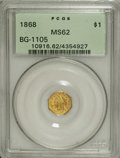California Fractional Gold: , 1868 $1 Liberty Octagonal 1 Dollar, BG-1105, High R.4, MS62 PCGS.The flashy mirrored fields are toned rich apricot-gold, a...