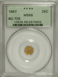 California Fractional Gold: , 1867 25C Liberty Octagonal 25 Cents, BG-709, R.4, MS66 PCGS.Pumpkin-gold and lime-green endow this precisely struck and go...