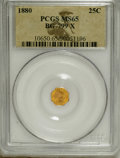 California Fractional Gold: , 1880 25C Indian Octagonal 25 Cents, BG-799X, R.3, MS65 PCGS. Thisflashy Gem has impressive contrast between the radiant de...