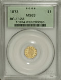 California Fractional Gold: , 1873 $1 Indian Octagonal 1 Dollar, BG-1123, High R.4, MS63 PCGS.The brightly mirrored fields lack noticeable marks. Slende...