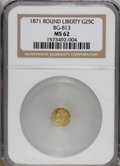 California Fractional Gold: , 1871 25C Liberty Round 25 Cents, BG-813, R.3, MS62 NGC. NGC Census:(3/16). PCGS Population (34/85). (#10674)...