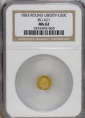 California Fractional Gold: , 1853 50C Liberty Round 50 Cents, BG-421, R.4, MS62 NGC. NGC Census:(4/4). PCGS Population (22/37). (#10457)...