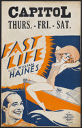 """Movie Posters:Comedy, Fast Life (MGM, 1932). Window Card (14"""" X 22""""). Comedy. Starring William Haines, Madge Evans, Conrad Nagel, Arthur Byron and..."""