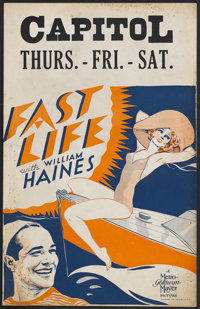 """Fast Life (MGM, 1932). Window Card (14"""" X 22""""). Comedy. Starring William Haines, Madge Evans, Conrad Nagel, Ar..."""