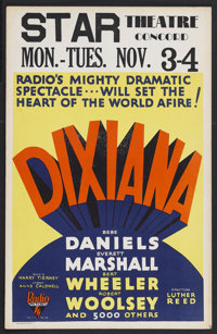 "Dixiana (RKO, 1930). Window Card (14"" X 22""). Musical Comedy. Starring Bebe Daniels, Bert Wheeler, Robert Wool..."