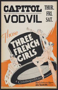 "Those Three French Girls (MGM, 1930). Window Card (14"" X 22""). Musical Comedy. Starring Reginald Denny, Cliff..."