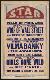 """Window Card Lot (Various, 1929). Local Window Cards (14.25"""" X 23""""). Titles include """"The Wolf of Wall Stre..."""