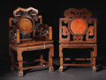 Furniture : Continental, A Pair of Chinese Carved Rosewood Armchairs. Unknown maker,Chinese. Late nineteenth/early twentieth century. Rosewood. Un...(Total: 2 )