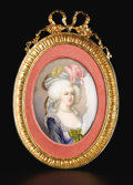 Decorative Arts, French:Other , A Limoges Enamel Miniature. Painted by Sandrino, Limoges, France.Late Nineteenth Century. Enamel and gilt metal. Marks: s...