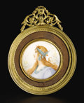 Decorative Arts, French:Other , A Miniature Painting on Ivory. Painted by Roberts, France. EarlyTwentieth Century. Ivory and gilt metal. Marks: signed ...