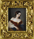 Ceramics & Porcelain, A Fine Portrait on Ivory. Pregliasco, Italy. 1849. Ivory. Marks: signed, inscribed and dated. 7 inches long x 5.25 wide. P...