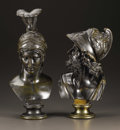 Bronze:European, A Pair of Finely Cast Bronze Busts. Unknown maker, Continental.19th Century. Bronze with brown patina. 13 inches high; 15...(Total: 2 )